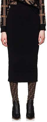 Fendi Women's Logo Knit Midi-Skirt - Black