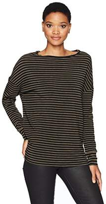Majestic Filatures Women's French Terry Stripe Long Sleeve Boat Neck