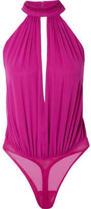 Fleur Du Mal Silk Crepe De Chine Thong Bodysuit - Magenta