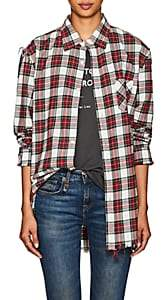 R 13 Women's Plaid Shredded Cotton Flannel Shirt-Red