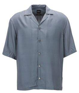 BOSS Hugo Relaxed-fit shirt in printed Italian silk XL Open Blue