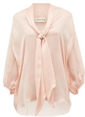 Alexandre Vauthier Tie Neck Silk Satin Chiffon Blouse - Womens - Light Pink