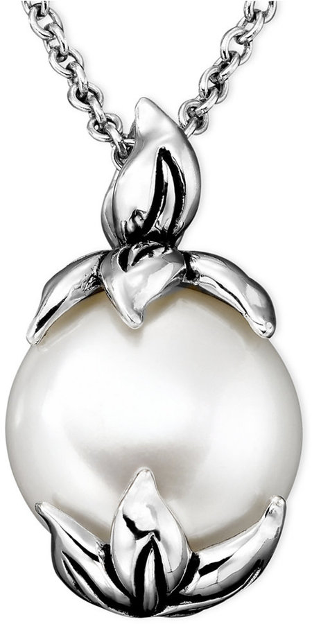 Honora Style Cultured Freshwater Pearl (11-1/2mm) Pendant Necklace in Sterling Silver