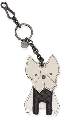 Bottega Veneta Leather Boston Terrier Dog Keychain