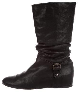 Stuart Weitzman Leather Ruched Boots