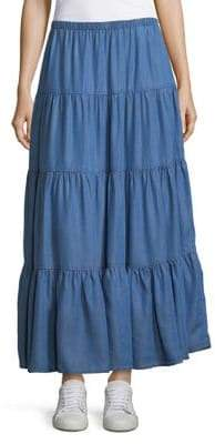 Context Tiered Chambray Skirt
