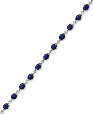 Effy Royale Bleu by Sapphire (8-1/8 ct. t.w.) and Diamond (1/3 ct. t.w.) Link Bracelet in 14k White Gold