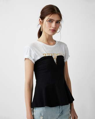 Express One Eleven V-Wire Peplum Top