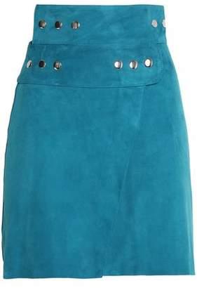 Maje Studded Suede Wrap Mini Skirt