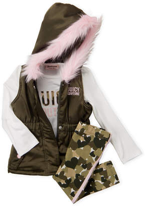 Juicy Couture Toddler Girls) 3-Piece Hooded Vest & Camouflage Leggings Set