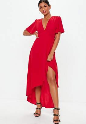 Missguided Red High Low Wrap Dress