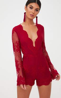 f3b7551862 PrettyLittleThing Red Lace Bell Sleeve Playsuit
