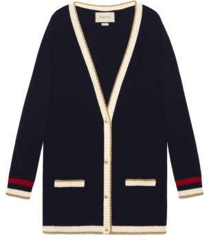 Gucci Embroidered oversize knitted cardigan