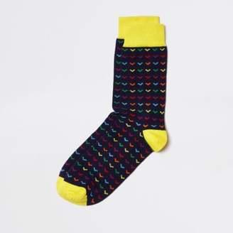 River Island Navy multi print socks