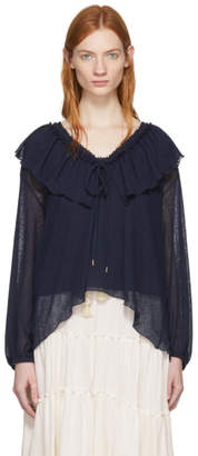 See by Chloe Navy Ruffles Blouse