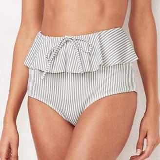 Lauren Conrad Women's Beach Shop Striped Ruffled High-Waisted Bikini Bottoms