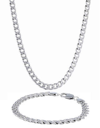 JCPenney FINE JEWELRY Mens Stainless Steel 7mm Curb Chain & Bracelet Boxed Set