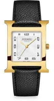 Hermes Heure H Goldpated & Leather Strap Watch