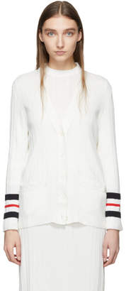 Thom Browne White Trompe LOeil Pleated Cardigan