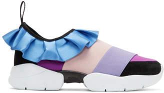 Emilio Pucci Purple and Black Colorblock Ruffle Slip-On Sneakers