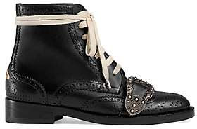 Gucci Women's Dionysus Buckle-Strap Leather Wingtip Boots - Black