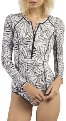 Women's Volcom Leaf Me Alone Long Sleeve One-Piece Swimsuit $87.50 thestylecure.com