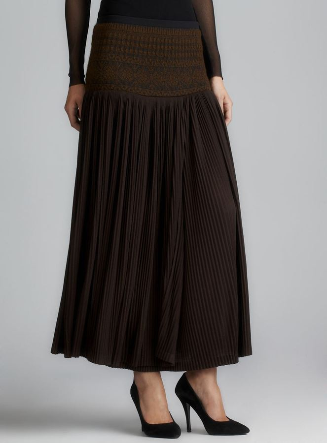 Jean Paul Gaultier Soleil Wool & Knit Pleated Skirt