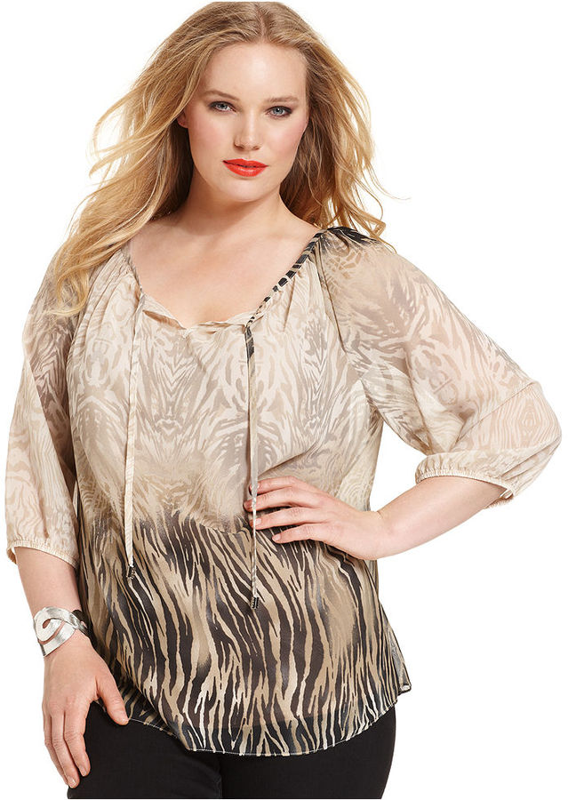 Amy Byer Plus Size Top, Three-Quarter-Sleeve Printed Peasant