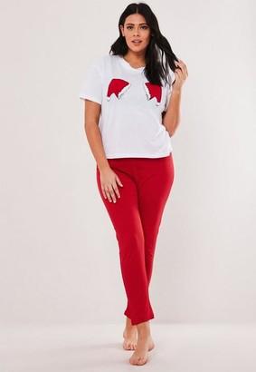 Missguided Plus Size White Christmas Santa Hat Pyjama Set