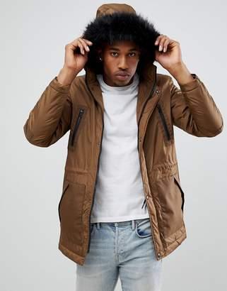 Asos DESIGN parka jacket with faux fur trim in tobacco