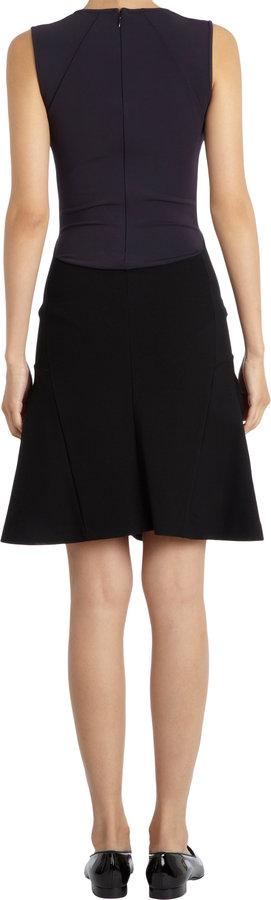 Stella McCartney Contrast Panel Sleeveless Flare Skirt Dress