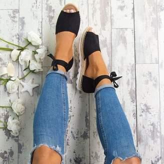 Meigar Women's Espadrille Sandals Casual Fashion Anke Strap Ribbon Peep Toe Summer Flat Shoes