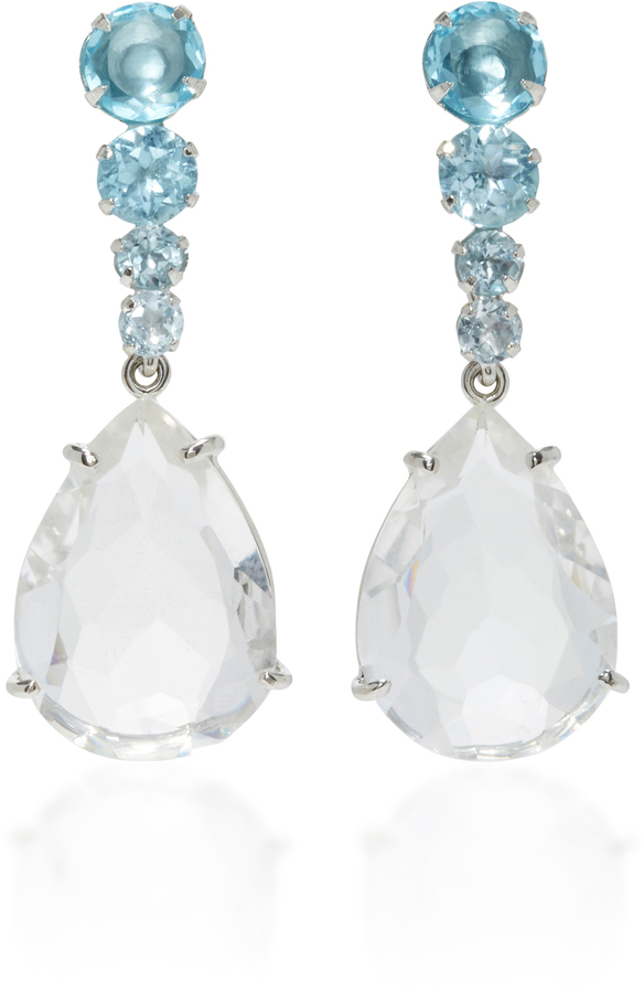 Bounkit Bounkit Clear and Blue Quartz Two-Way Earrings