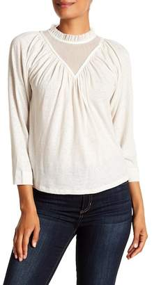 Rebecca Taylor Tulle Trim Linen Blend Jersey Top