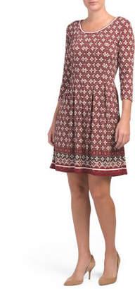 3/4 Sleeve Printed Jersey Dress