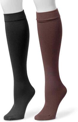 Muk Luks 2-pk. Fleece-Lined Knee High Socks