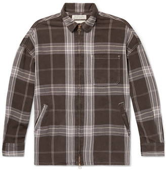 Remi Relief Checked Cotton-Twill Zip-Up Shirt