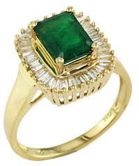 Effy 14K Yellow Gold Diamond And Emerald Ring