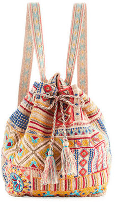 JWLA For Johnny Was Arwen Embroidered Drawstring Backpack $220 thestylecure.com