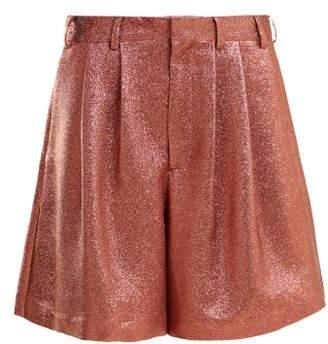 Raey Tinsel Metallic Silk Blend Shorts - Womens - Pink