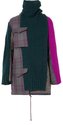 Sacai Oversized Checked Wool-blend, Knitted Wool And Shell Jacket - Army green