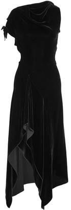 Wren Cutout Asymmetric Draped Velvet Midi Dress - Black