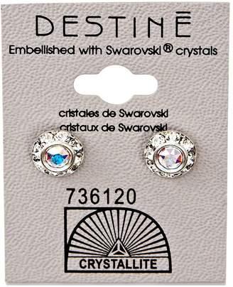 Crystallite Destine Diamond Cut Earrings 9mm Aurora Borealis