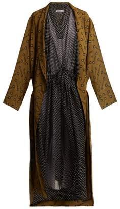 Balenciaga V Neck Polka Dot Print Dress - Womens - Black White
