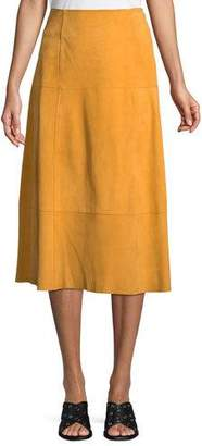 Elizabeth and James Ryker A-Line Suede Midi Skirt w/ Topstitch Seams