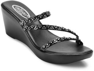 Callisto Shana Embellished Thong Wedge Sandals Women Shoes