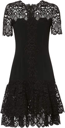 Jonathan Simkhai Lace Applique Crepe Black Mini Dress