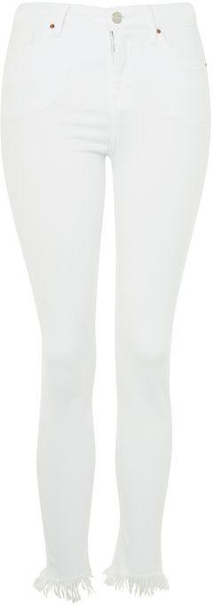 TopshopTopshop Moto white fray hem cain jeans