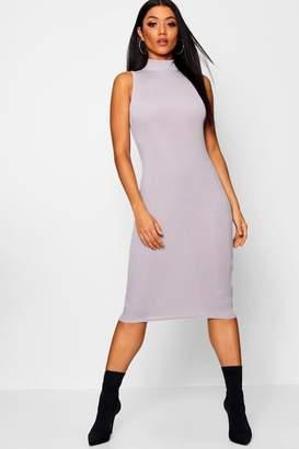 boohoo High Neck Sleeveless Ribbed Midi Dress
