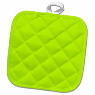 3dRose Lime Green - plain simple one single solid color - light vibrant bright summery summer green - Pot Holder, 8 by 8-inch